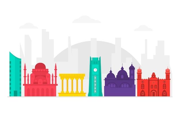 Kleurrijke beroemde bezienswaardigheden skyline