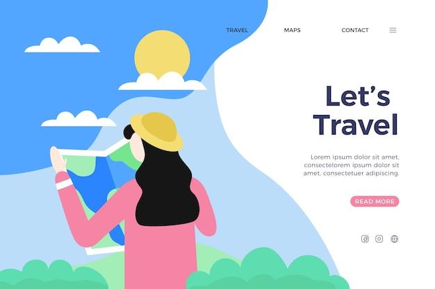 Kleurrijke bestemmingspagina voor reizen