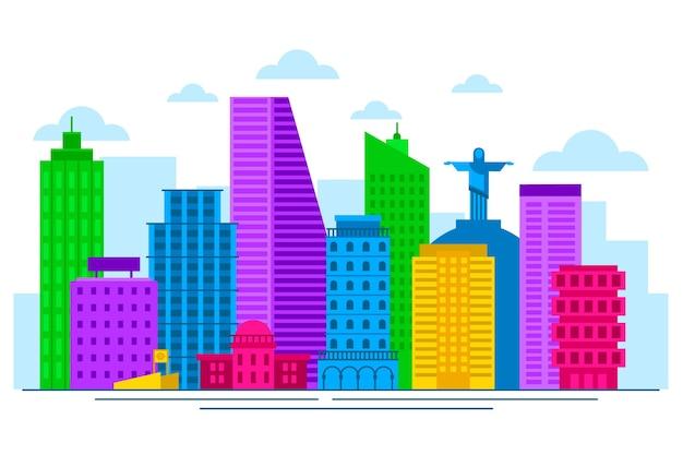 Kleurrijke bezienswaardigheden skyline concept
