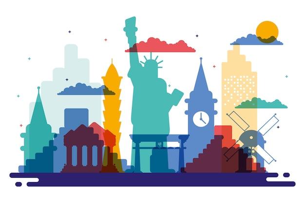 Kleurrijke bezienswaardigheden skyline