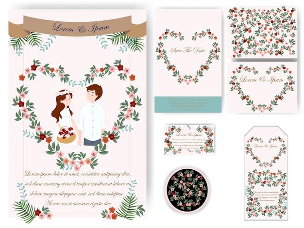 Kleurrijke bladeren bruiloft kaart en tag