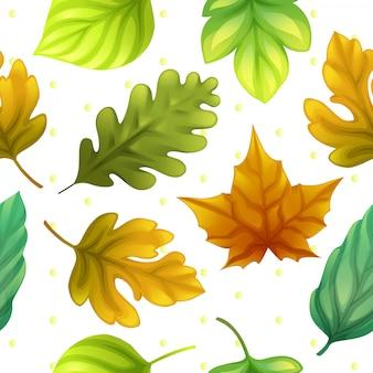 Kleurrijke bladeren en puntpatroon naadloze vector