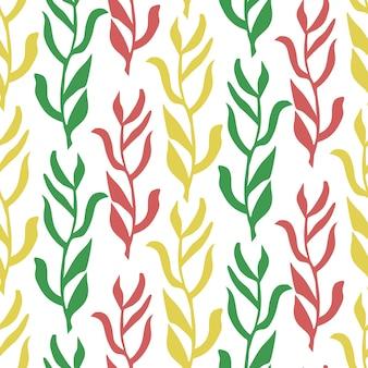 Kleurrijke bladeren naadloze patroon geïsoleerde vector illustratie plant background