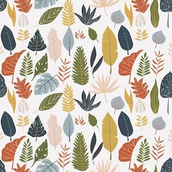 Kleurrijke bladeren print patroon achtergrond