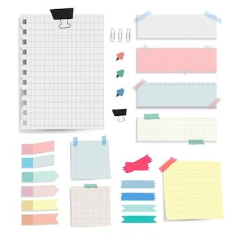 Kleurrijke blanco papier notities vector set