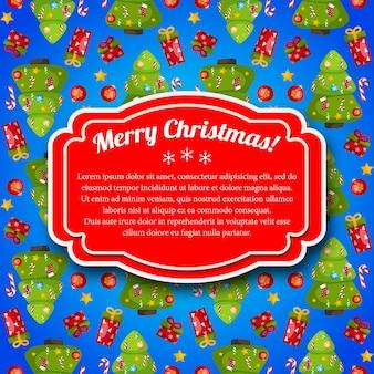 Kleurrijke blauwe vrolijke kerstmisprentbriefkaar met rood tekstveld