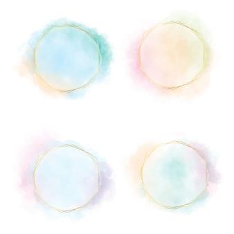 Kleurrijke blauwgroene roze en oranje de cirkelplons van de gradiëntwaterverf met gouden frame