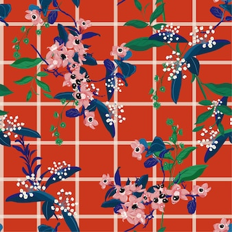 Kleurrijke bloeiende tuinbloemen op venstercontrolepatroon