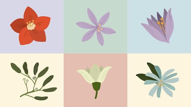 Kleurrijke bloeiende winter botanische mobiel behang