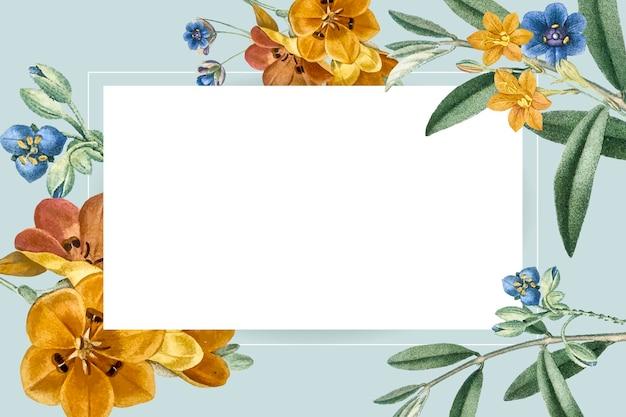 Kleurrijke bloem illustratie frame sjabloon