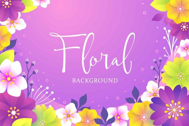 Kleurrijke bloemen achtergrond met platte ontwerp