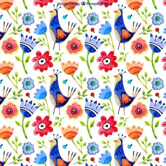 Kleurrijke bloemen aquarel achtergrond van vogels