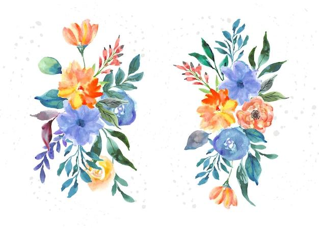 Kleurrijke bloemen aquarel brunches