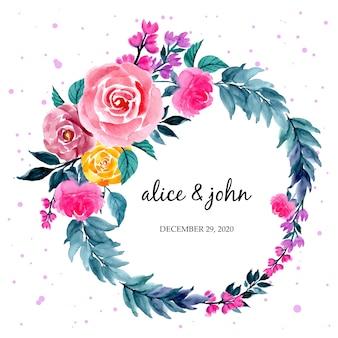 Kleurrijke bloemen aquarel krans