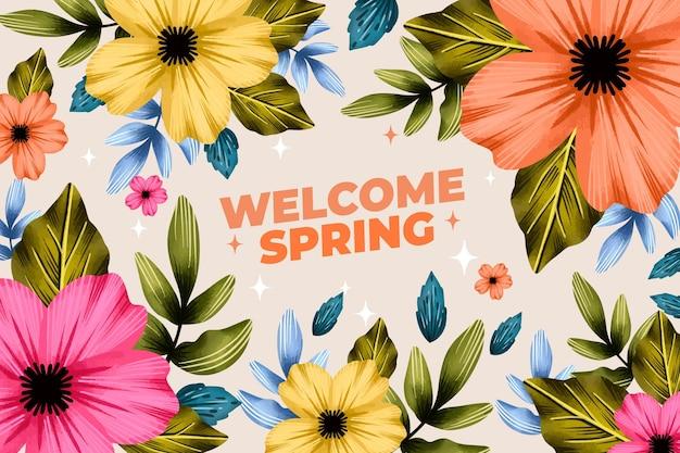 Kleurrijke bloemen aquarel lente achtergrond