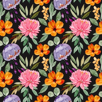 Kleurrijke bloemen aquarel naadloze patroon met zwarte achtergrond