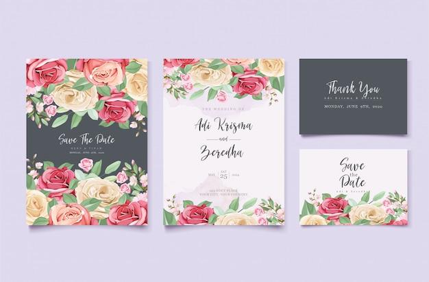 Kleurrijke bloemen bruiloft uitnodiging sjabloon