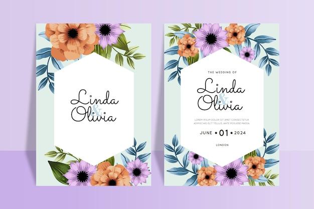 Kleurrijke bloemen bruiloft uitnodigingen sjabloon