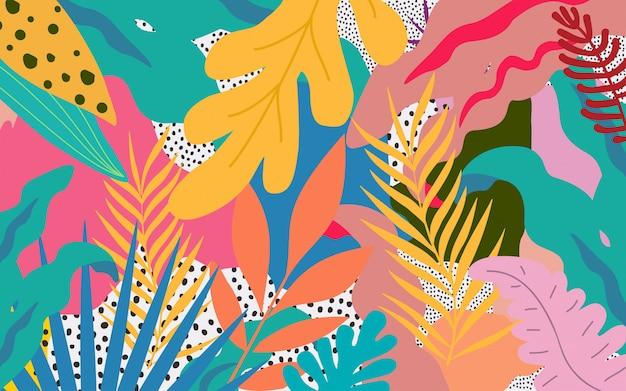 Kleurrijke bloemen en bladerenafficheachtergrond
