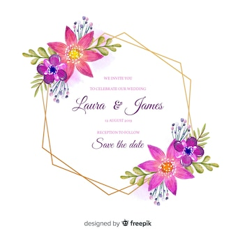Kleurrijke bloemen frame bruiloft uitnodiging in aquarel stijl