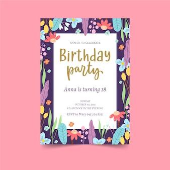 Kleurrijke bloemen frame verjaardagsuitnodiging sjabloon