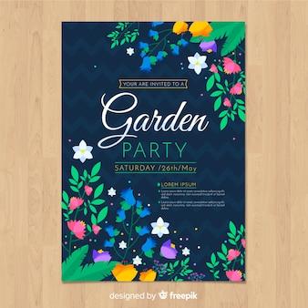 Kleurrijke bloemen lente partij poster sjabloon