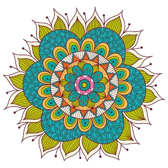 Kleurrijke bloemen mandala. etnische decoratieve elementen