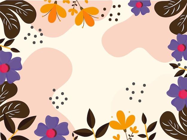 Kleurrijke bloemen met bladeren verfraaide grensachtergrond