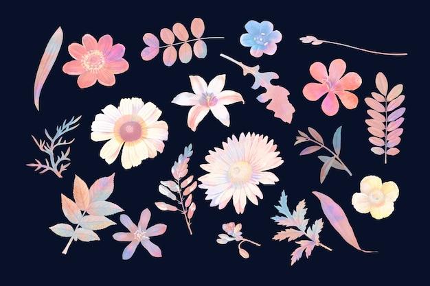 Kleurrijke bloemen ontwerp vector set