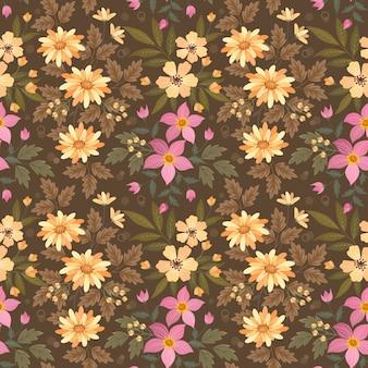 Kleurrijke bloemen op bruin naadloos patroon.