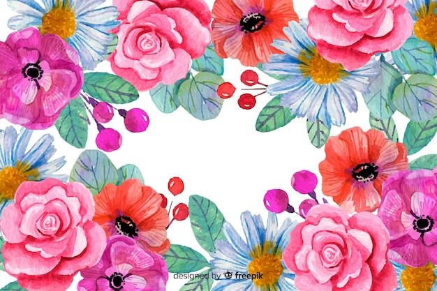 Kleurrijke bloemenachtergrond geschilderde stijl