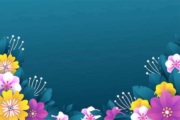 Kleurrijke bloemenachtergrond met vlak ontwerp