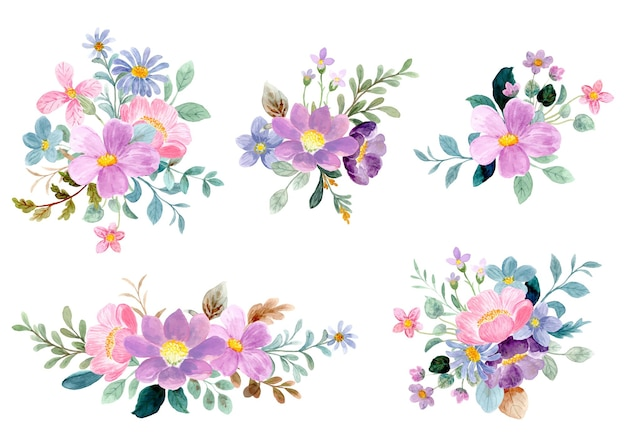 Kleurrijke bloemenboeketcollectie met waterverf