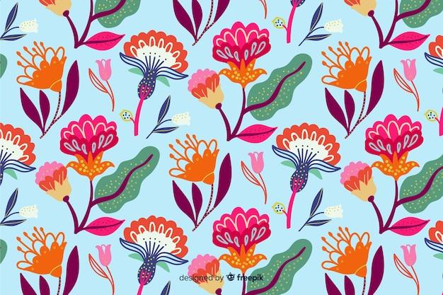 Kleurrijke bloemenborduurwerkachtergrond