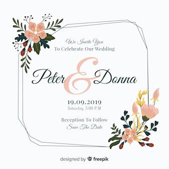 Kleurrijke bloemenframe huwelijksuitnodiging