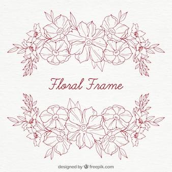 Kleurrijke bloemenkader in hand getrokken stijl