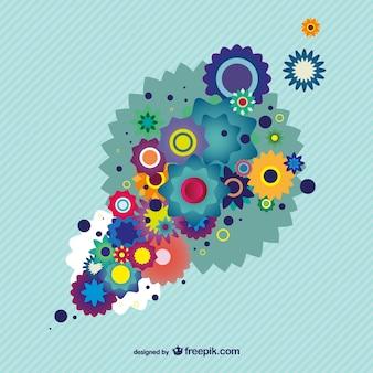 Kleurrijke bloemenontwerpachtergrond illustrator