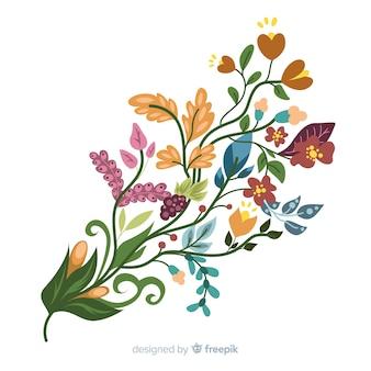 Kleurrijke bloementak in plat ontwerp