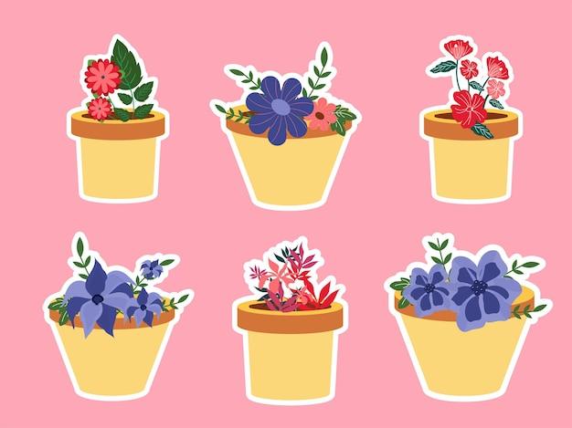 Kleurrijke bloempotten in stickerstijl op roze