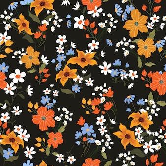 Kleurrijke bloesem op zwarte achtergrond naadloze patroon.