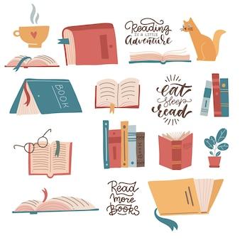 Kleurrijke boeken iconen set leren en studeren collectie met belettering citaten met geopend boek gesloten bo...