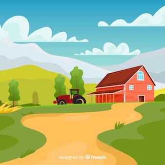 Kleurrijke boerderij landschap cartoon stijl