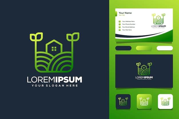 Kleurrijke boerderij logo sjabloon visitekaartje