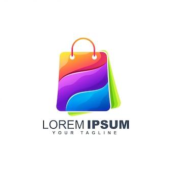 Kleurrijke boodschappentas abstract logo ontwerpsjabloon