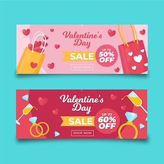 Kleurrijke boodschappentassen valentijnsdag verkoop banners