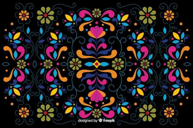 Kleurrijke borduurwerk bloemenachtergrond