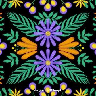 Kleurrijke borduurwerk mexicaanse bloemenachtergrond