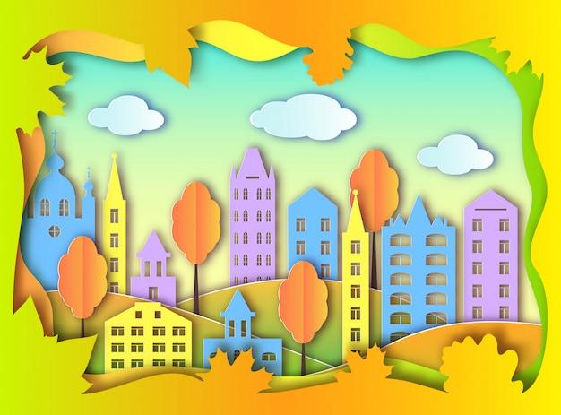 Kleurrijke bouw van grote stad