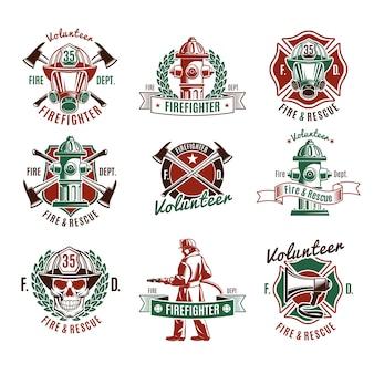Kleurrijke brandbeschermingsetiketten met reddingsgereedschap voor de schedel van brandweerman