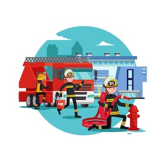 Kleurrijke brandbestrijding sjabloon